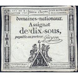 Assignat 23a - 10 sous - 4 janvier 1792 - Série 1307 - Etat : TTB-