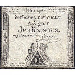 Assignat 23a - 10 sous - 4 janvier 1792 - Série 1408 - Etat : TB+