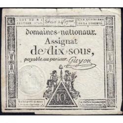 Assignat 23a - 10 sous - 4 janvier 1792 - Série 1467 - Etat : TTB