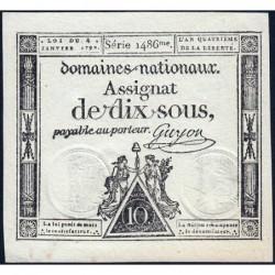Assignat 23a - 10 sous - 4 janvier 1792 - Série 1486 - Etat : SPL