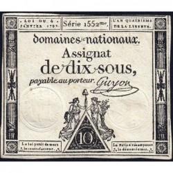 Assignat 23a - 10 sous - 4 janvier 1792 - Série 1552 - Etat : TTB+