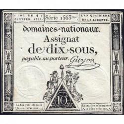 Assignat 23a - 10 sous - 4 janvier 1792 - Série 1563 - Etat : SUP