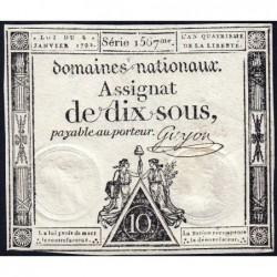 Assignat 23a - 10 sous - 4 janvier 1792 - Série 1567 - Etat : TTB