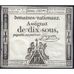 Assignat 23a - 10 sous - 4 janvier 1792 - Série 1585 - Etat : SUP+