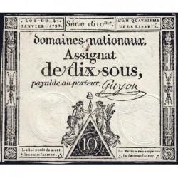 Assignat 23a - 10 sous - 4 janvier 1792 - Série 1610 - Etat : TTB