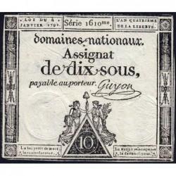Assignat 23a - 10 sous - 4 janvier 1792 - Série 1610 - Etat : TTB+