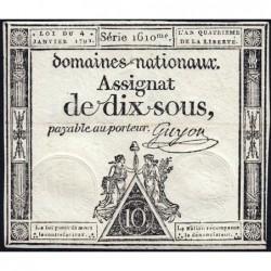 Assignat 23a - 10 sous - 4 janvier 1792 - Série 1610 - Etat : SUP