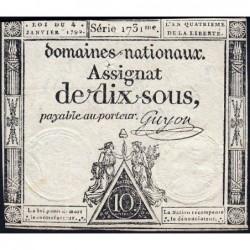 Assignat 23a - 10 sous - 4 janvier 1792 - Série 1731 - Etat : TB+