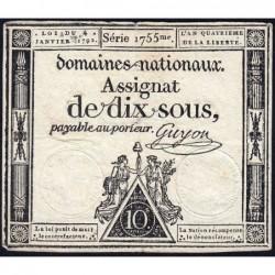 Assignat 23a - 10 sous - 4 janvier 1792 - Série 1755 - Etat : TB+