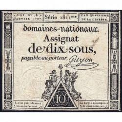 Assignat 23a - 10 sous - 4 janvier 1792 - Série 1811 - Etat : TB