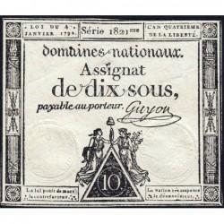 Assignat 23a - 10 sous - 4 janvier 1792 - Série 1821 - Etat : TTB+