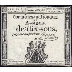 Assignat 23a - 10 sous - 4 janvier 1792 - Série 1833 - Etat : TTB+