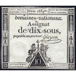 Assignat 23a - 10 sous - 4 janvier 1792 - Série 1839 - Etat : TTB+