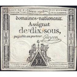 Assignat 23a - 10 sous - 4 janvier 1792 - Série 1918 - Etat : TB+