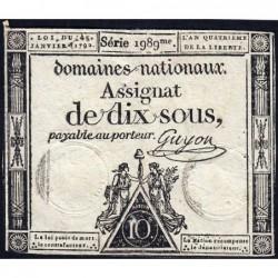 Assignat 23a - 10 sous - 4 janvier 1792 - Série 1989 - Etat : TTB