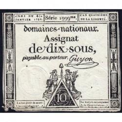 Assignat 23a - 10 sous - 4 janvier 1792 - Série 1999 - Etat : TB+