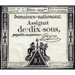 Assignat 23a - 10 sous - 4 janvier 1792 - Série 1999 - Etat : TTB+
