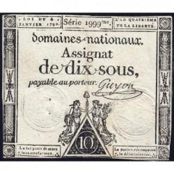 Assignat 23a - 10 sous - 4 janvier 1792 - Série 1999 - Etat : TTB
