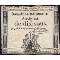 Assignat 23a - 10 sous - 4 janvier 1792 - Série 1776 - Etat : B+