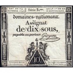 Assignat 34a - 10 sous - 24 octobre 1792 - Série 31 - Etat : TB+