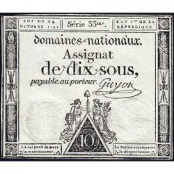 Assignat 34a - 10 sous - 24 octobre 1792 - Série 33 - Etat : SUP