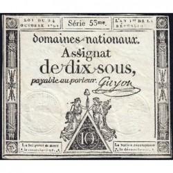 Assignat 34a - 10 sous - 24 octobre 1792 - Série 53 - Etat : TTB