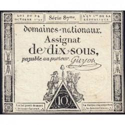 Assignat 34a - 10 sous - 24 octobre 1792 - Série 87 - Etat : TTB