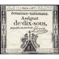 Assignat 34a - 10 sous - 24 octobre 1792 - Série 116 - Etat : TB+