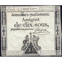Assignat 34a - 10 sous - 24 octobre 1792 - Série 316 - Etat : TB+