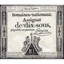 Assignat 34a - 10 sous - 24 octobre 1792 - Série 326 - Etat : TTB