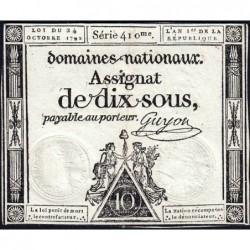 Assignat 34a - 10 sous - 24 octobre 1792 - Série 410 - Etat : TTB