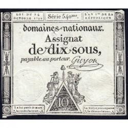 Assignat 34a - 10 sous - 24 octobre 1792 - Série 540 - Etat : TB+