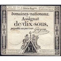 Assignat 34a - 10 sous - 24 octobre 1792 - Série 894 - Etat : TB+