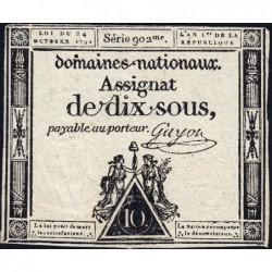 Assignat 34a - 10 sous - 24 octobre 1792 - Série 902 - Etat : TB