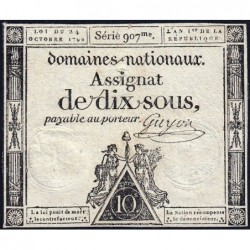 Assignat 34a - 10 sous - 24 octobre 1792 - Série 907 - Etat : TB