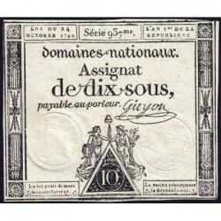 Assignat 34a - 10 sous - 24 octobre 1792 - Série 937 - Etat : TTB