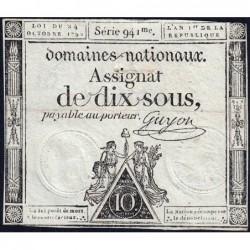 Assignat 34a - 10 sous - 24 octobre 1792 - Série 941 - Etat : TB