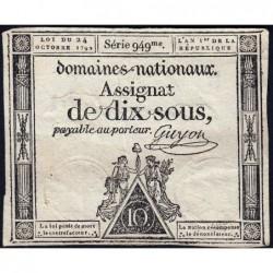 Assignat 34a - 10 sous - 24 octobre 1792 - Série 949 - Etat : TB+
