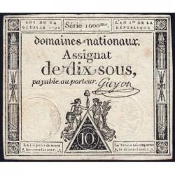 Assignat 34a - 10 sous - 24 octobre 1792 - Série 1000 - Etat : TB+