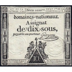 Assignat 34a - 10 sous - 24 octobre 1792 - Série 1020 - Etat : TTB+