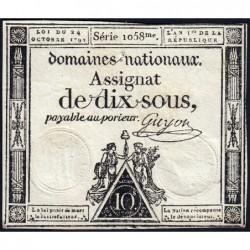 Assignat 34a - 10 sous - 24 octobre 1792 - Série 1058 - Etat : TB+