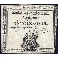 Assignat 34a - 10 sous - 24 octobre 1792 - Série 1066 - Etat : TB-