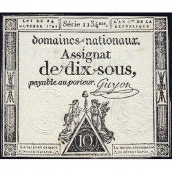 Assignat 34a - 10 sous - 24 octobre 1792 - Série 1134 - Etat : TTB