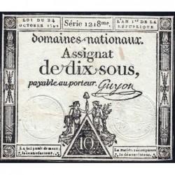 Assignat 34a - 10 sous - 24 octobre 1792 - Série 1218 - Etat : TTB