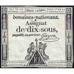 Assignat 34a - 10 sous - 24 octobre 1792 - Série 1258 - Etat : TB+