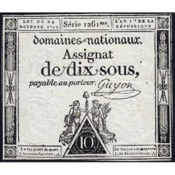 Assignat 34a - 10 sous - 24 octobre 1792 - Série 1261 - Etat : TTB