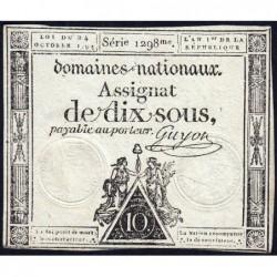 Assignat 34a - 10 sous - 24 octobre 1792 - Série 1298 - Etat : TTB