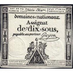 Assignat 34a - 10 sous - 24 octobre 1792 - Série 1362 - Etat : TTB+