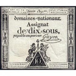 Assignat 34a - 10 sous - 24 octobre 1792 - Série 1391 - Etat : TB+