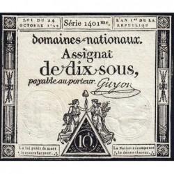 Assignat 34a - 10 sous - 24 octobre 1792 - Série 1401 - Etat : TB
